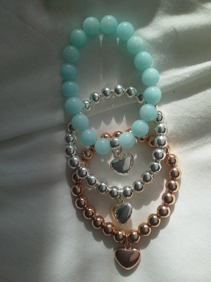Bead and Heart bracelets $19 - Silver Aqua Gold