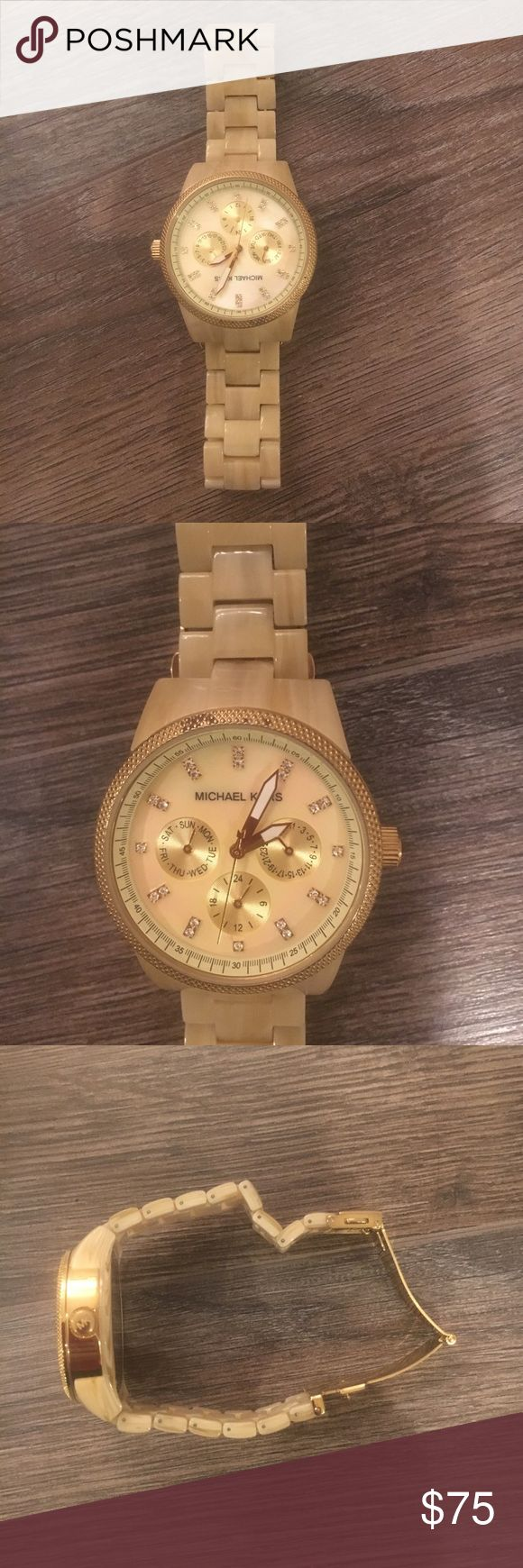 Michael Kors Tortoise Watch Great condition! Light tan with gold touches. It's resized and needs a new battery! Michael Kors Accessories Watches