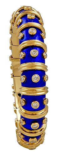 this imperial blue enamelled gold bangle with diamonds by Sao Schlumberger at TIFFANY & Co.has given me an attack of covetousness which is a Vice. *sigh*