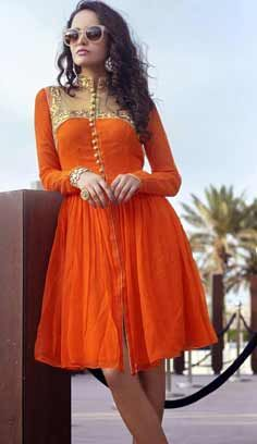 Latest Traditional Orange Faux Georgette Kurti
