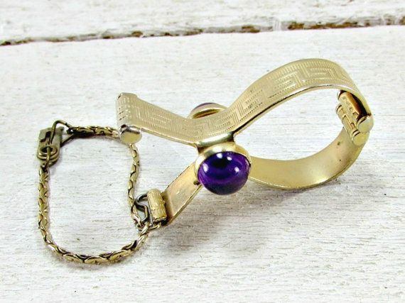 Vintage Gold Glove Holder, Purple Jeweled Glove Clip, Gold Glove Clip, Gold Glove Keeper, 1950s Formal Wedding Bridal Prom Fashion Accessory by RedGarnetVintage