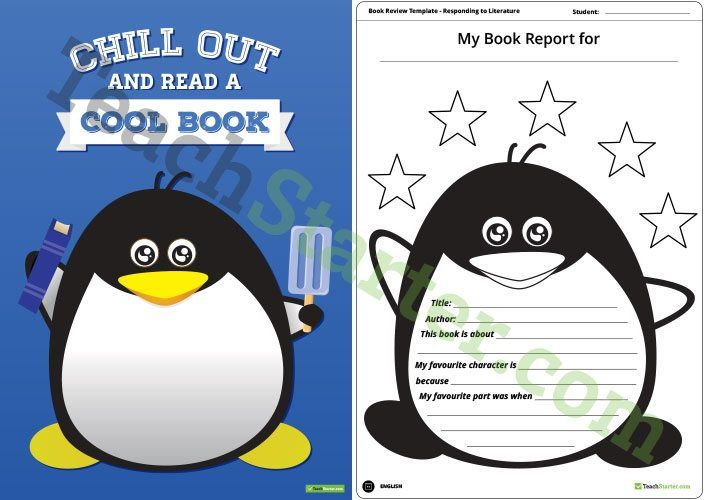 Teaching Resource: A fun penguin themed poster with 3 book report templates to use when responding to literature.