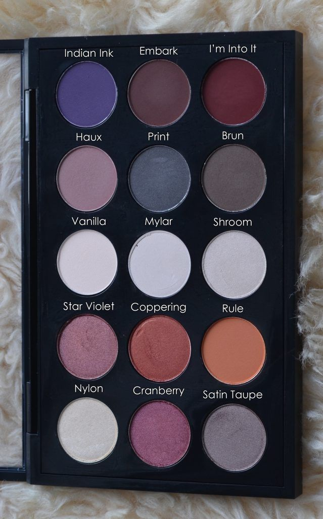 Eye shadows from MAC cosmetics: Indian Ink, Embark, I'm Into It, Haux, Print, Brun, Vanilla, Mylar, Shroom, Star Violet, Coppering, Rule, Nylon, Cranberry, Satin Taupe.