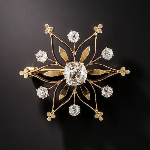 Victorian Diamond Snowflake Pin and Pendant