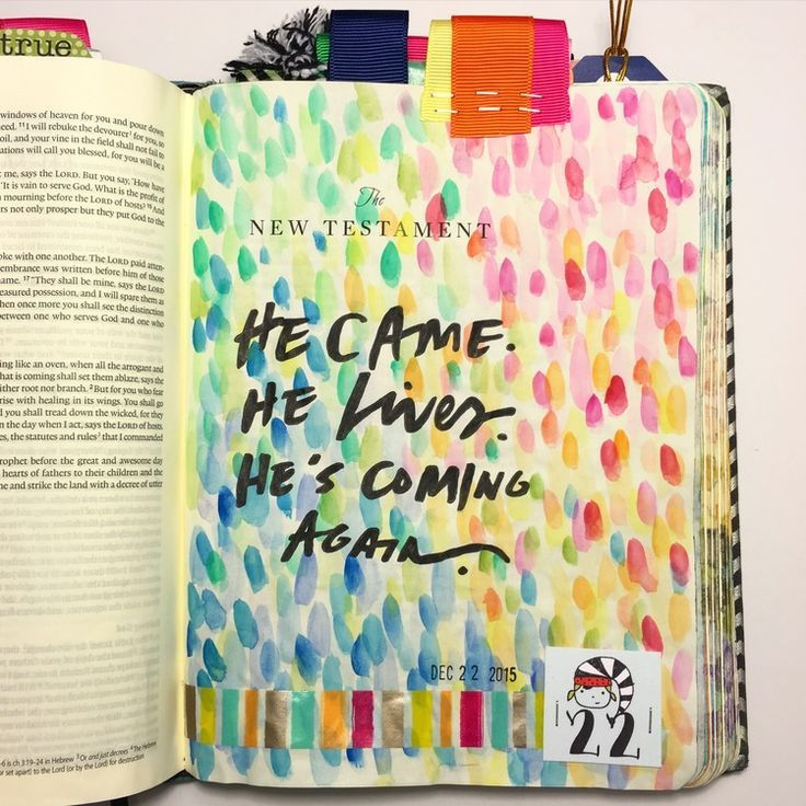 """Bible journaling New Testament cover page: """"He came. He lives. He's coming again."""" — Arden Ratcliff-Mann 