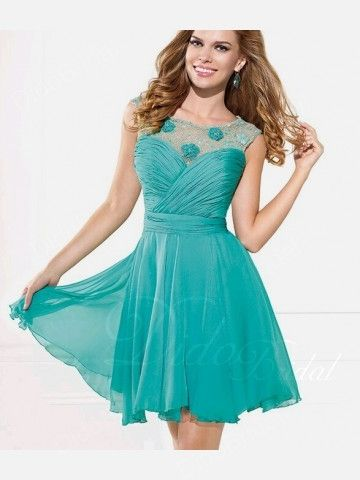 Bateau Neckline Chiffon Beaded Short Homecoming Dress