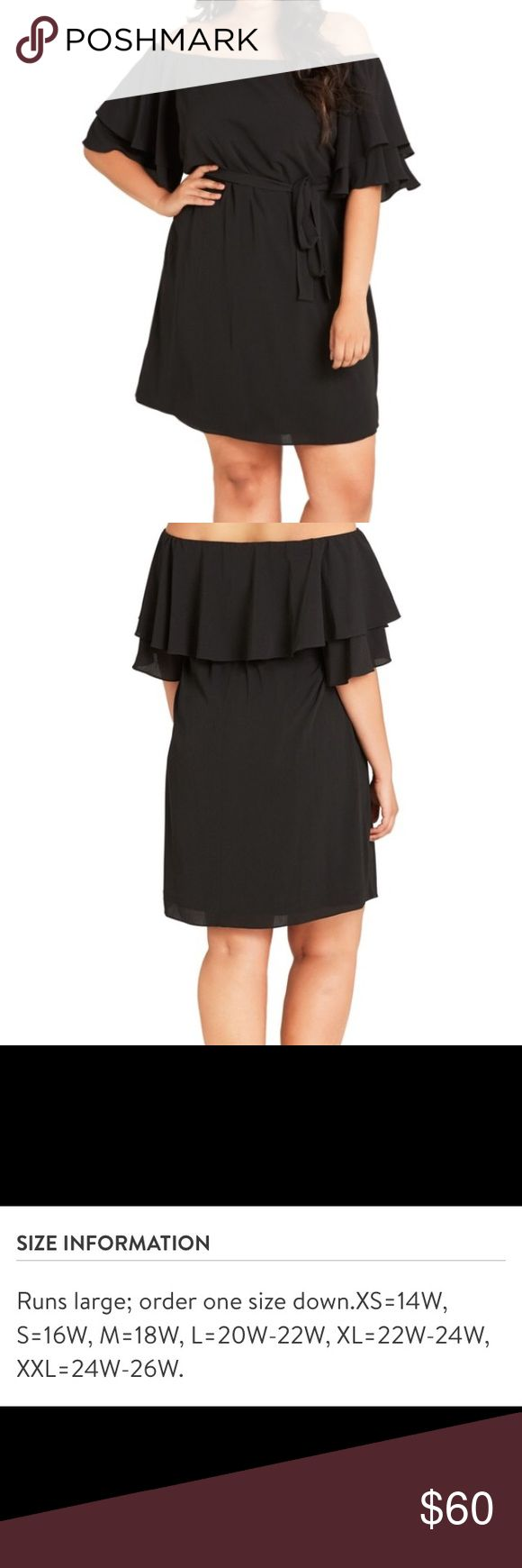 """City Chic Off The Shoulder Shift Dress A flirty shoulder-baring shift topped with a fluttery ruffle, 33"""" length, removable waist tie, 95% polyester, 5% elastane, machine wash, excellent condition, smoke free home, purchase from Nordstrom's, size:  xs 14w City Chic Dresses Strapless"""