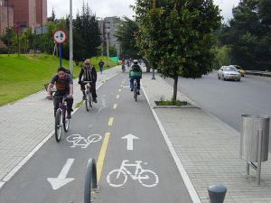 Urban cycle path. Bogota, Colombia.