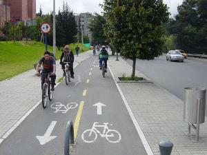 Urban cycle path. Bogota, Colombia.