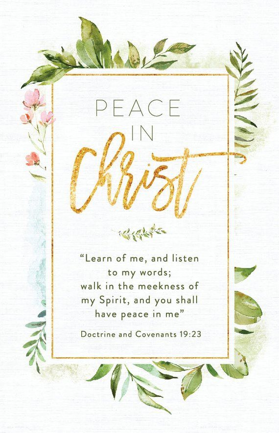 2018 Lds Youth Theme Peace In Christ Dc 1923 Instant Download