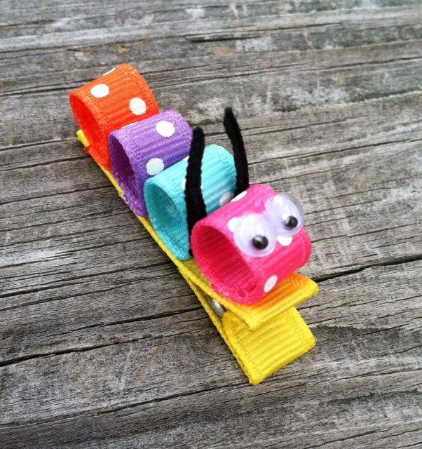 Polka Dotted Caterpillar Ribbon Sculpture Hair Clip - Toddler Hair Bows - Girls Hair Accessories... Free Shipping Promo. $3.50, via Etsy.