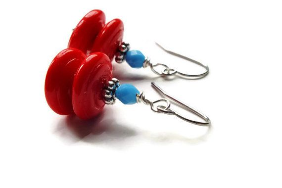 Red Earrings Saucer Earrings Surgical Steel Red & Teal by harmony5