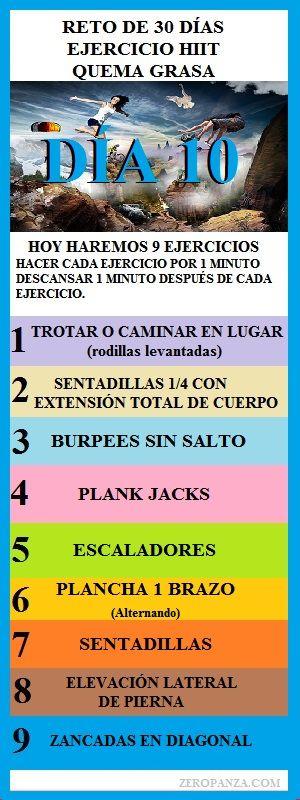 reto de 30 dias de ejercicio quema grasa dia 10