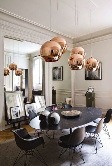 suspended Copper pendant grouping creates a floating, astral feeling - all at once, heavy & lithe...