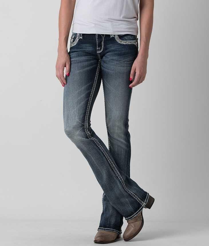 Rock Revival Ligeria B200 Boot Jeans Low Rise Faux Flap Back Pocket sz 29 X 30 #RockRevival #BootCut