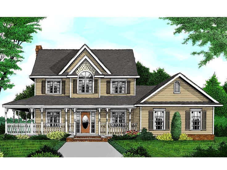 044H 0011 Country Farmhouse Plan Has 3 Bedrooms
