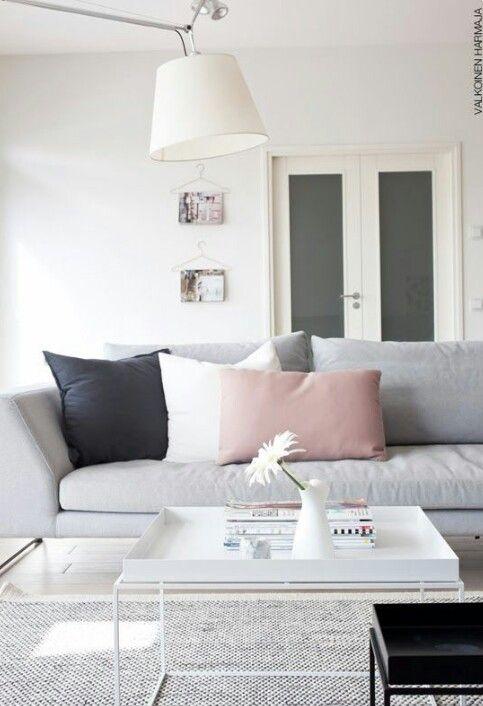 Woonkamer wit-grijs-roze