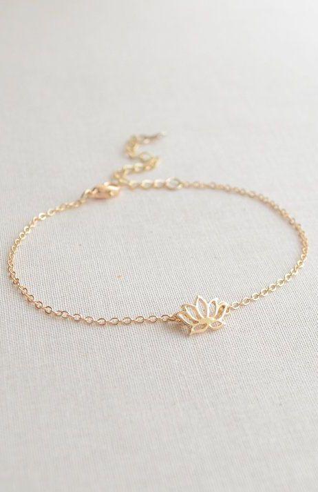 Lotus flower bracelet - gold or silver flower bracelet
