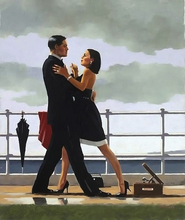 """Anniversary Waltz (2011). Jack Vettriano. Vettriano's work has been compared to painters Walter Sickert and Edward Hopper with a strong film noir influence – his work is reminiscent of movie stills, each canvas capturing an intimate, emotionally charged vignette. He was awarded an OBE for Services to the Visual Arts and was the subject of the documentary """"Jack Vettriano: The People's Painter."""""""