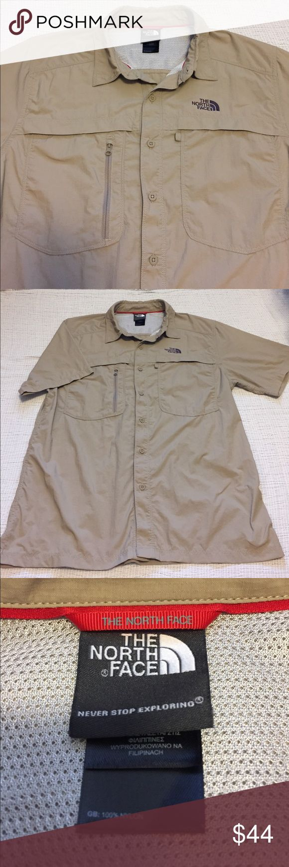 """Men's - The North Face tan button down shirt This shirt is in excellent condition! There's 3 pockets on the front and vented on the back.   Measurements: Total length - 28 3/4"""" Armpit to armpit - 21"""" Sleeve length - 9 3/4""""  M1018 The North Face Shirts"""