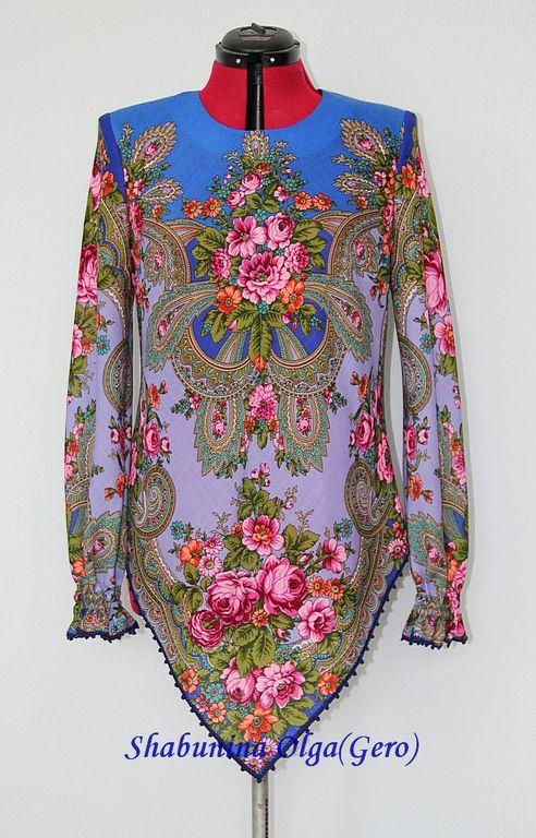 Купить Туника женская из Павловопосадского платка - синий, цветочный, туника, изделия из платка, павловопосадский платок