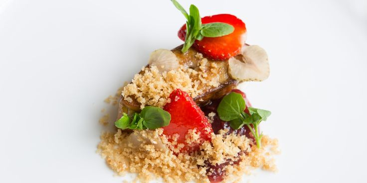 Try this indulgent foie gras recipe from chef Russell Bateman, served with sweet and savoury strawberries.