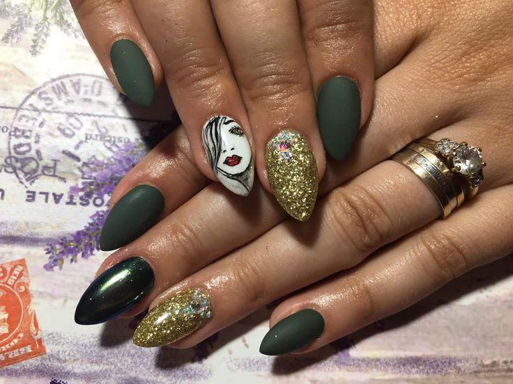 #love4nails, green, matte, gold glitter, paint