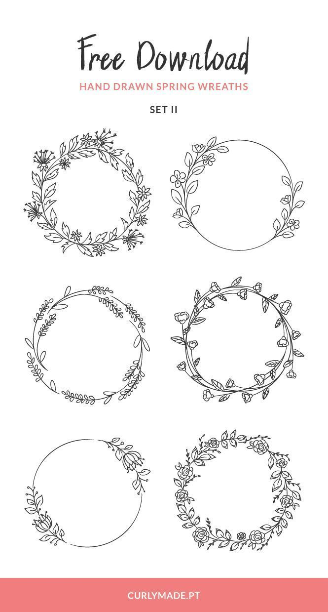 Kostenloser Download: Hand Drawn Spring Wreaths II…