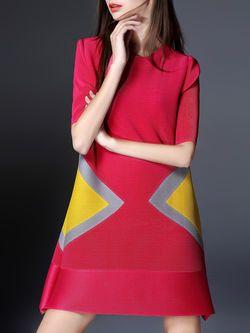 Fuchsia H-line Casual Floral Crew Neck Mini Dress