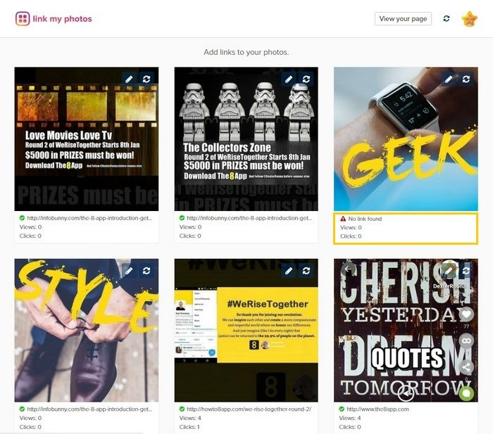 Link My Photos is a great site that allows you to add clickable links to images. All the images you add to Instagram appear on your Link My Photos page where you can add links to.