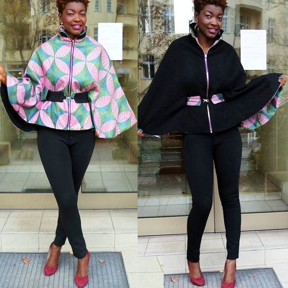 African print poncho with two sides double sided by CokoDiamond