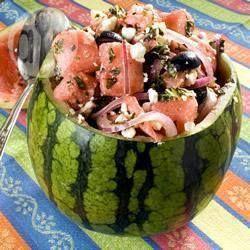 Photo recette : Salade de pastèque à la feta et à la menthe