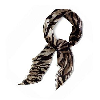 Ralph Lauren Women's Zebra Print Silk Blend Neckerchief Scarf