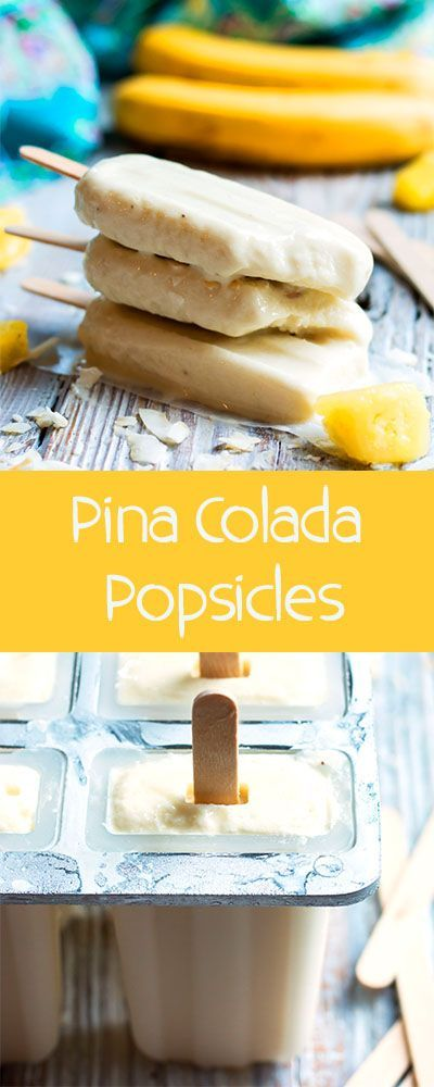 Non-Alcoholic Pina Colada Pops | This popsicle recipe is wonderful for when you are craving a tropical drink without the alcohol. Pineapples, bananas, and coconut milk give this summer treat its great flavor!