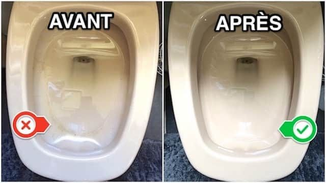 Avant et après le nettoyant pour cuvette de WC