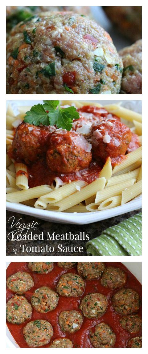 Veggie Loaded Meatballs in Tomato Sauce- Slow Cooker Dinner