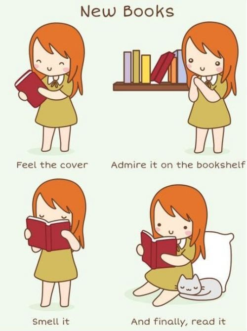 Ah so true. There's nothing quite as comforting as the smell if a new book... Unless it's an old book