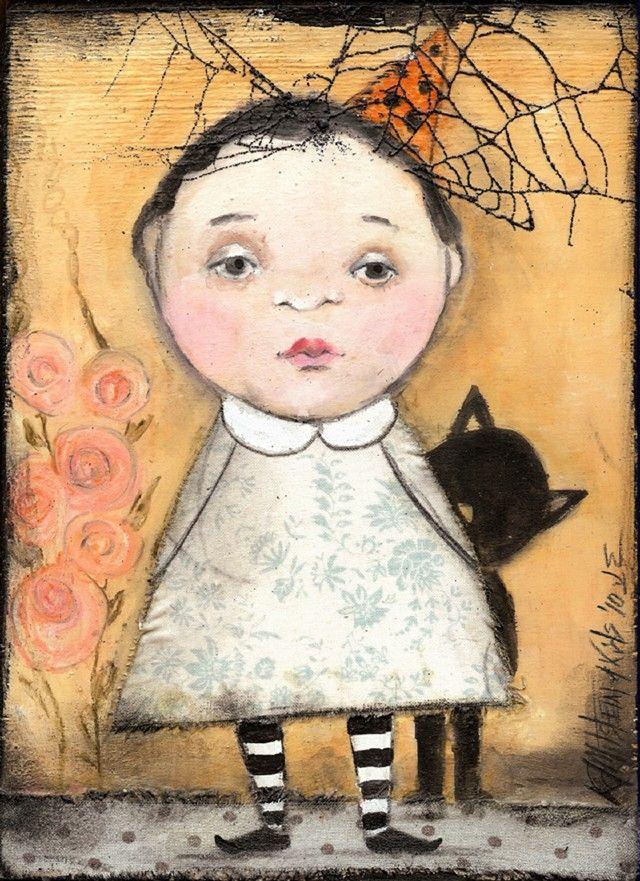 FOLK ART HALLOWEEN CHILD CAT REAL SPIDER WEB PRINT OF PAINTING