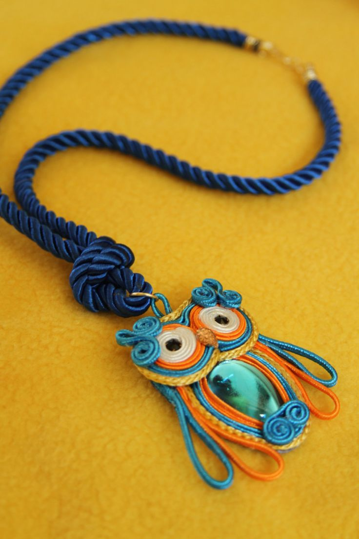 Colorful Owl Necklace made by Soutache by MayuFashion on Etsy