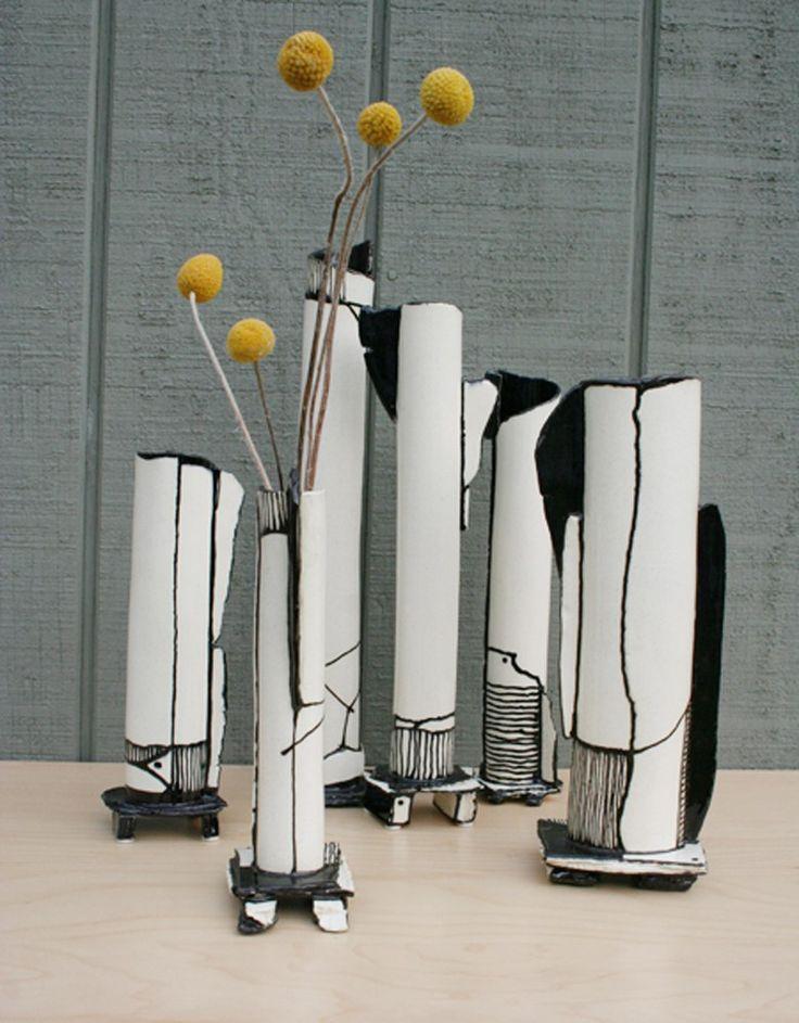 Skinny black and white modern vessel by HouseOfCeramics on Etsy