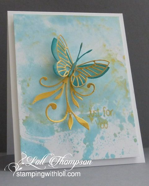 Stamping with Loll: Smooshing with Inka Gold, Stamps: Butterfly Birthday Sentiment (Happy Little Stampers) Paper: White (Neenah) Ink: Peacock Feathers Distress Re-inker (concentrate) from Tim Holtz; Delicata Gold (Tsukineko) Accessories & Tools: Inka Gold wax paste in gold, palette knife, water mister, Moonlight and Kaleidoscope butterfly dies (Memory Box); Flourish #6 (Crafty Ann)