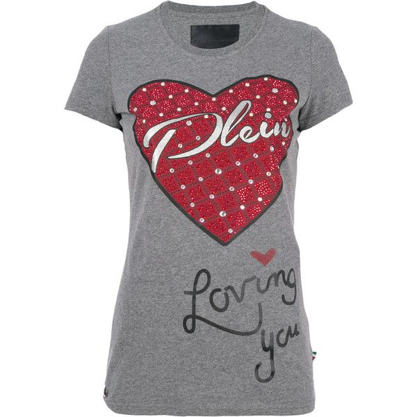 Philipp Plein embellished heart T-shirt (714 CAD) ❤ liked on Polyvore featuring tops, t-shirts, grey, crew t shirts, grey crew neck t shirt, logo tee, gray t shirt and heart tee