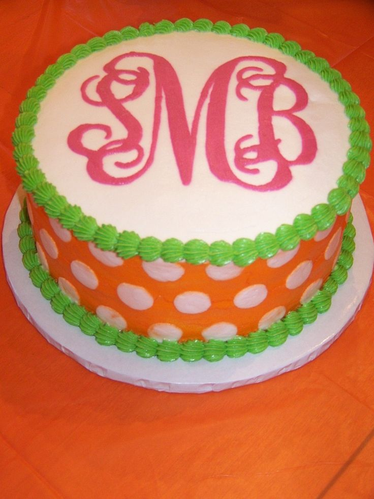 Repinning this for you, @Candace Mulherin and @Sofia Lyons...Bridal Shower Cake, Happy Birthday, Polka Dots, Birthday Parties, Monograms Cake, Cake Ideas, Polkadot Birthday Cake, Graduation Cake, Birthday Cakes