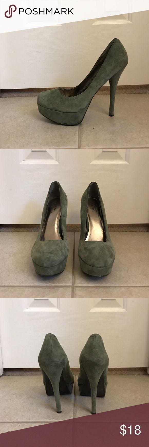 Womens olive green suede platform pump Womens olive green suede platform pump. Zigi Soho Shoes Heels