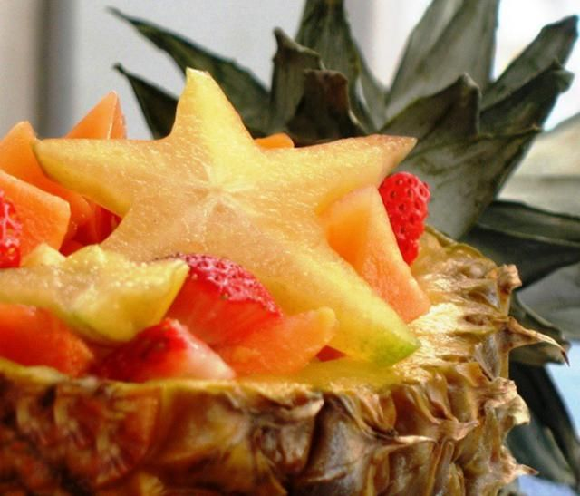 Almost Too Pretty to Eat Tropical Thai Fruit Salad: Tropical Fruit Salad (Served here in a Pineapple)