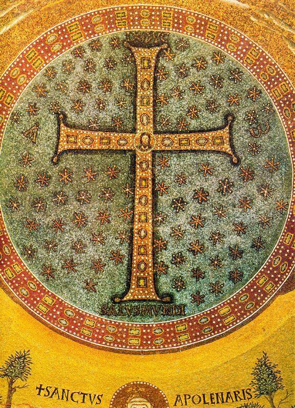TRANSFIGURACIÓN. Anónimo Bizantino. Detalle del mosaico absidal, San Apolinar en Classe. Rávena. Italia.
