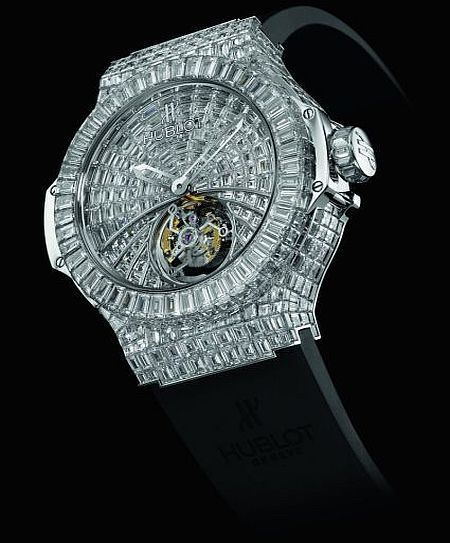 Hublot $1million dollars. Fully invisible setting that makes the material disappear and the only thing revealed are the diamonds.