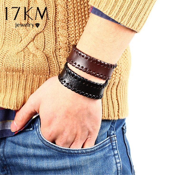 17Km 2017 New Fashion Vintage Men Bracelet Punk Jewelry Wholesale Wide Leather Strap With Button Bracelet Bangle For Men