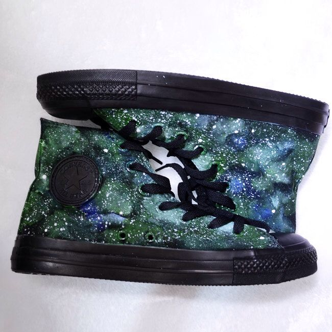 painted shoes converse galaxy converse Custom galaxy Green galaxy Black canvas shoes by NinaHandPaintedShoes on Etsy https://www.etsy.com/listing/213810877/painted-shoes-converse-galaxy-converse