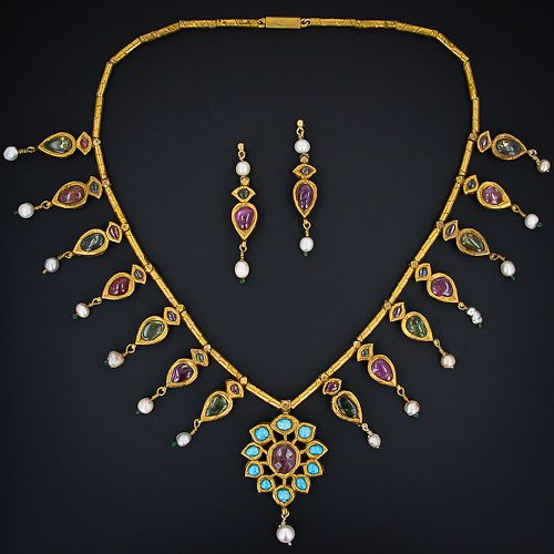 Antique Indian Moghul Tourmaline and Pearl Necklace and Earrings - 18K gold plus, pink and green tourmaline, turquoise and pearls from India. Circa late 1800s-early 19003